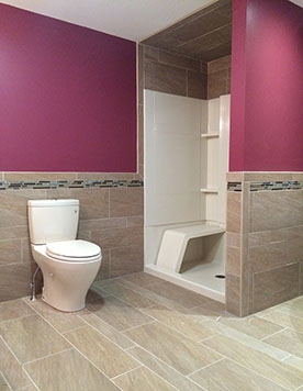 bathroom tiled floors and walls
